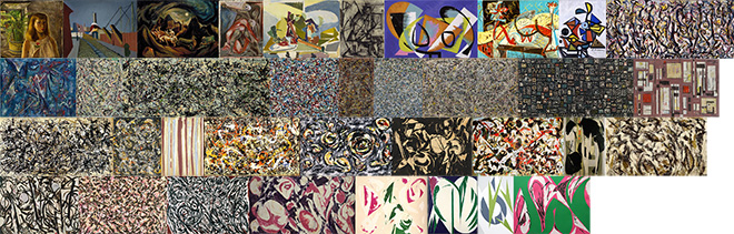 36 paintings by Krasner and Pollock